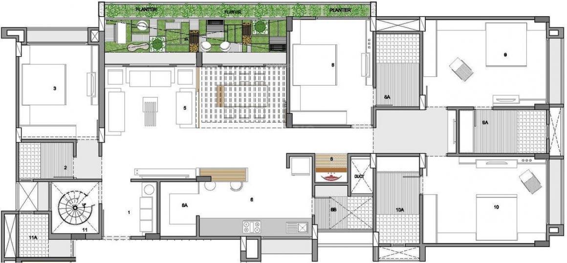 Sankalp Grace Floor Plan: 4 BHK Unit with Built up area of 3500 sq.ft 1