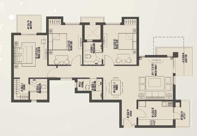 Umang Monsoon Breeze Floor Plan: 2 BHK Unit with Built up area of 1726 sq.ft 1