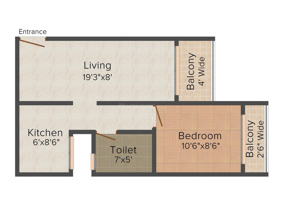 Floor Plan Image of 0 - 640 Sq.ft 1 BHK Apartment for buy in Sky Light