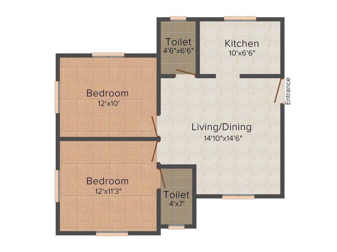 Priya Apartments Floor Plan: 2 BHK Unit with Built up area of 868 sq.ft 1