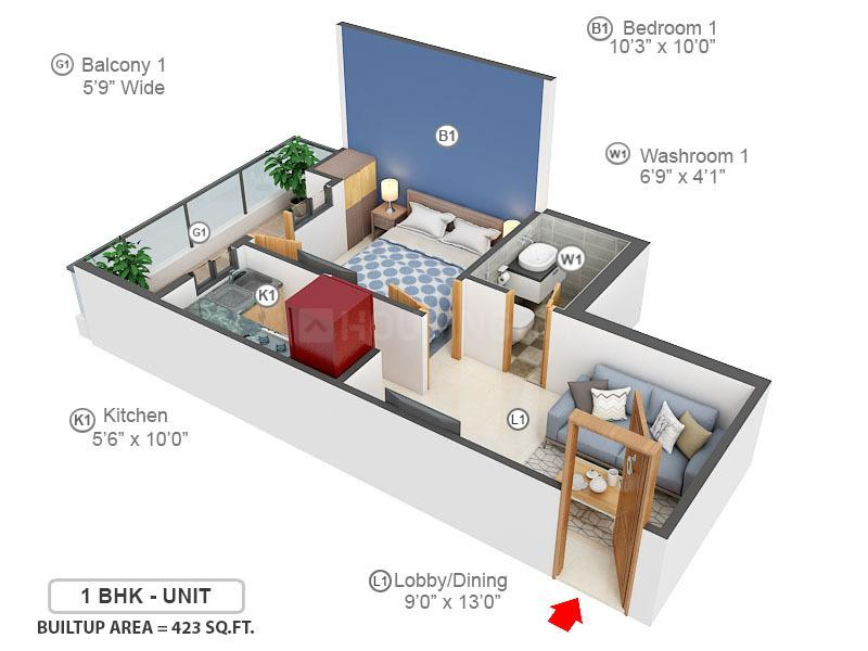 Amolik Sankalp Floor Plan: 1 BHK Unit with Built up area of 424 sq.ft 1