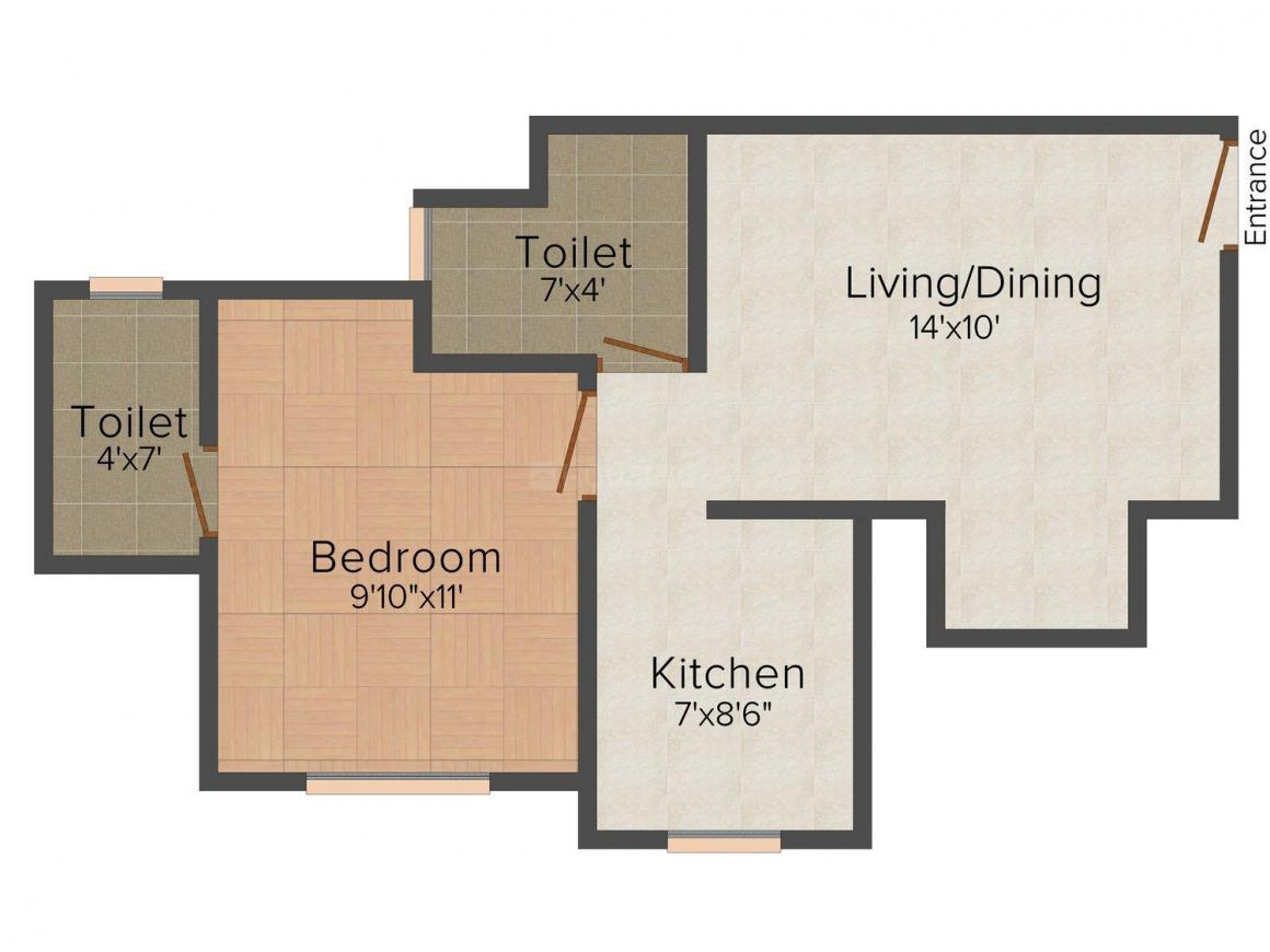 Floor Plan Image of 558 - 648 Sq.ft 1 BHK Apartment for buy in Nirmal Victory