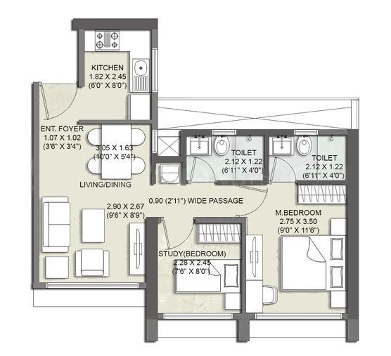 Kalpataru Elitus Floor Plan: 1 BHK Unit with Built up area of 477 sq.ft 1