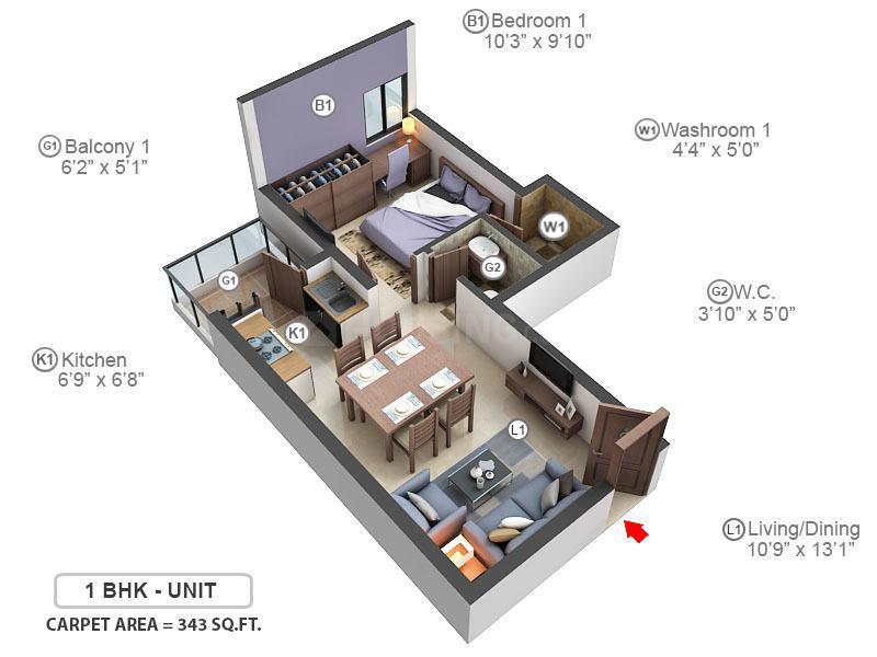 Adani Aangan Floor Plan: 1 BHK Unit with Built up area of 343 sq.ft 1