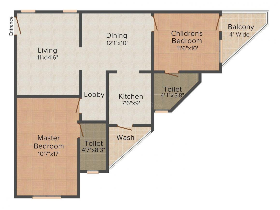 ISTA @1 Floor Plan: 2 BHK Unit with Built up area of 1200 sq.ft 1