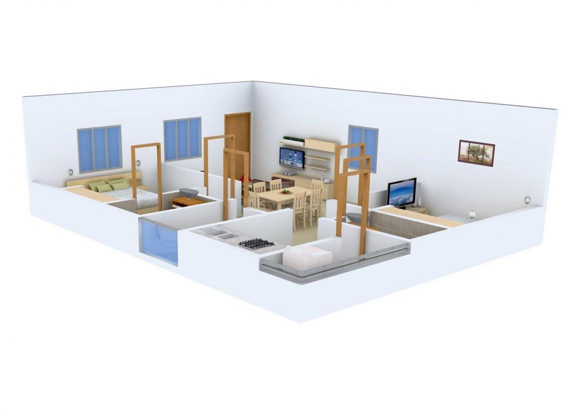 Eshwar Samyuktha Residency Floor Plan: 2 BHK Unit with Built up area of 1003 sq.ft 1