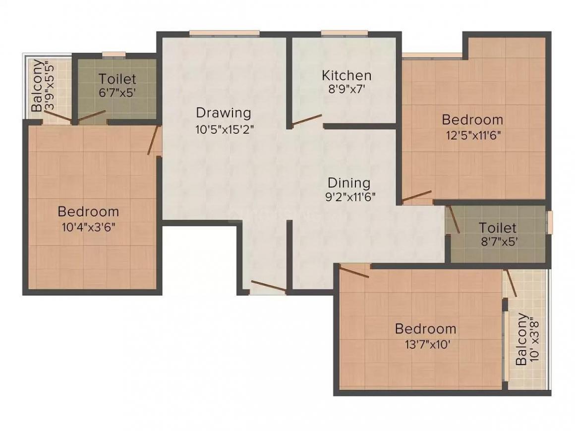 Sri Mateshwari Sheetal Complex Floor Plan: 3 BHK Unit with Built up area of 1304 sq.ft 1