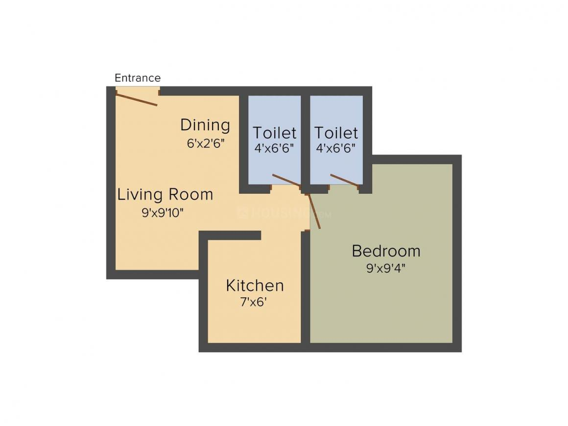 Floor Plan Image of 425 - 495 Sq.ft 1 BHK Apartment for buy in A and O Excellente