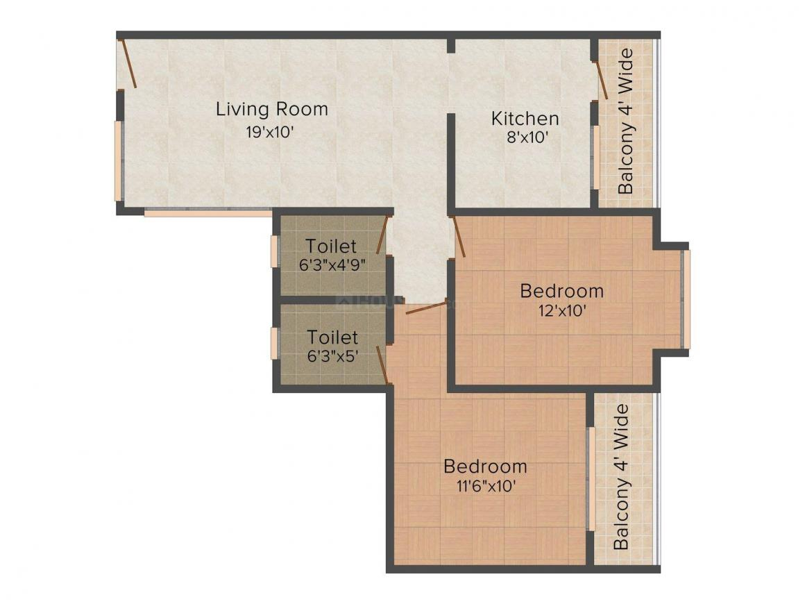 Floor Plan Image of 910 - 1300 Sq.ft 2 BHK Apartment for buy in Gangwani Plaza