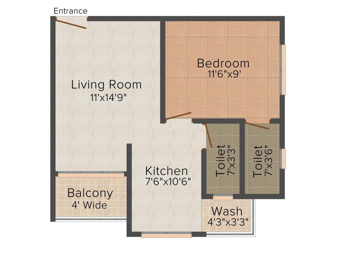 Floor Plan Image of 510 - 710 Sq.ft 1 BHK Apartment for buy in Dhruv Residency