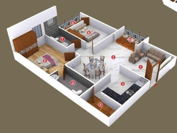 SSVR Acacia Floor Plan: 2 BHK Unit with Built up area of 1013 sq.ft 1