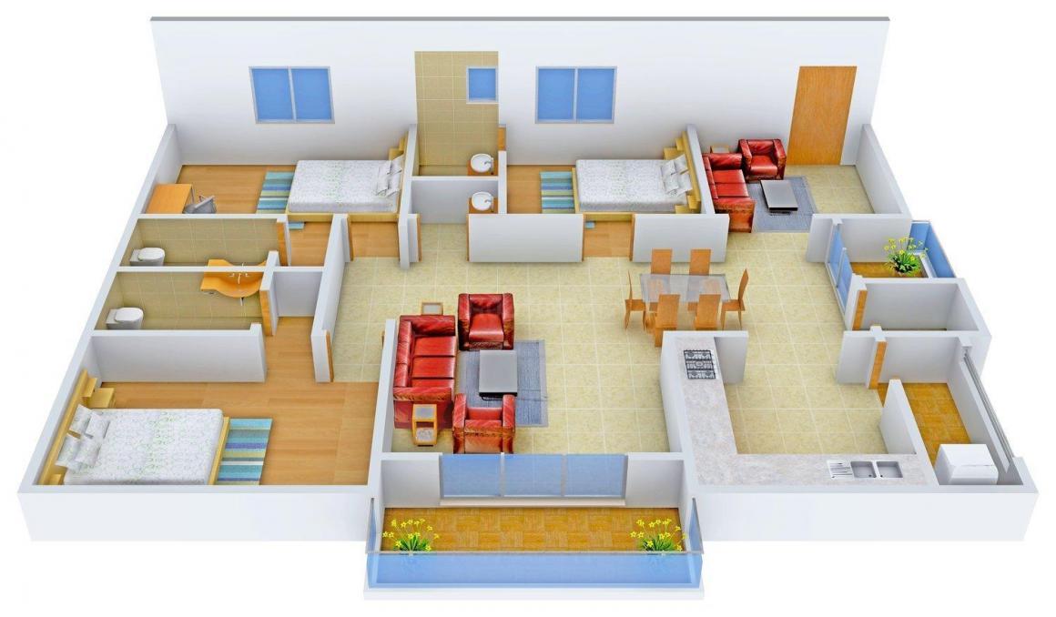 Floor Plan Image of 1793.0 - 1914.0 Sq.ft 3 BHK Apartment for buy in Jain's Bhavani Residency