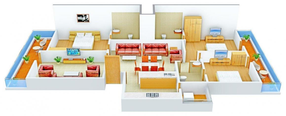 Angad Floors - 2 Floor Plan: 3 BHK Unit with Built up area of 1500 sq.ft 1