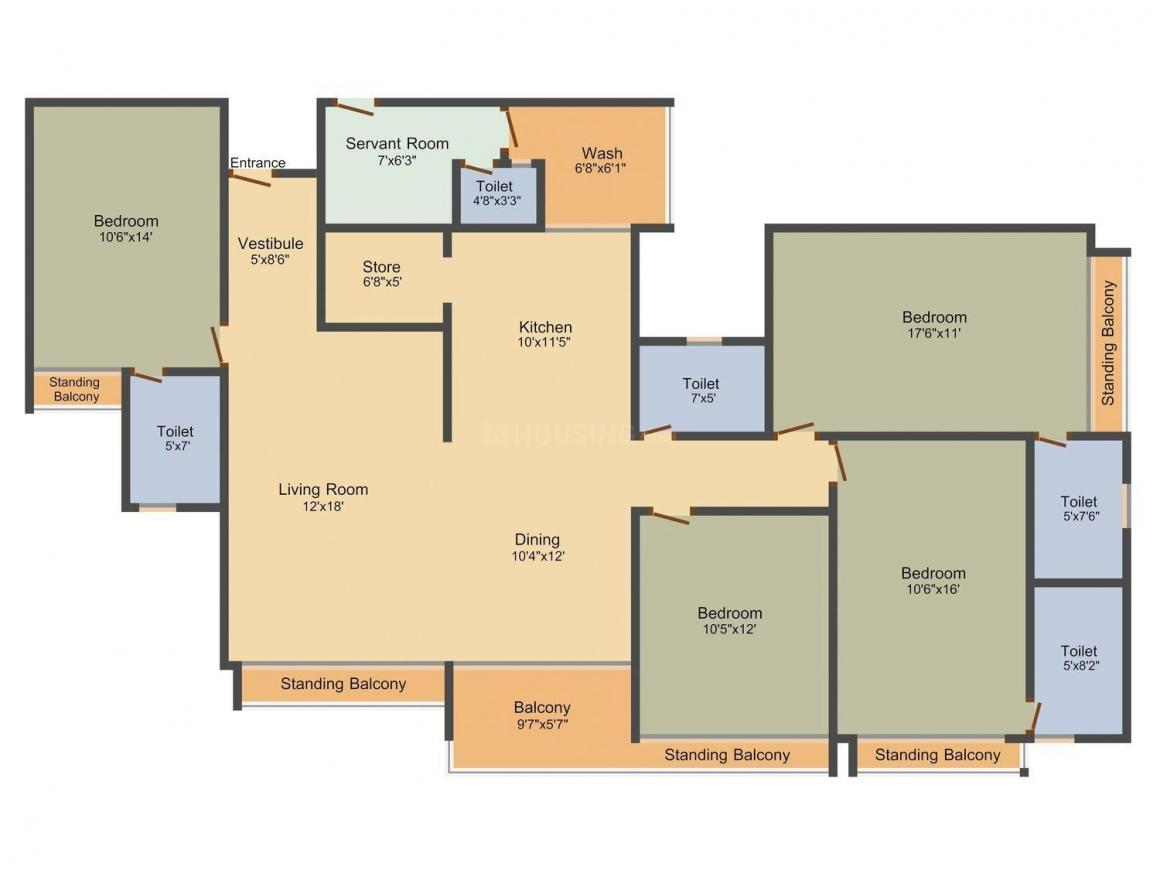 Gala Marvella Floor Plan: 4 BHK Unit with Built up area of 2775 sq.ft 1
