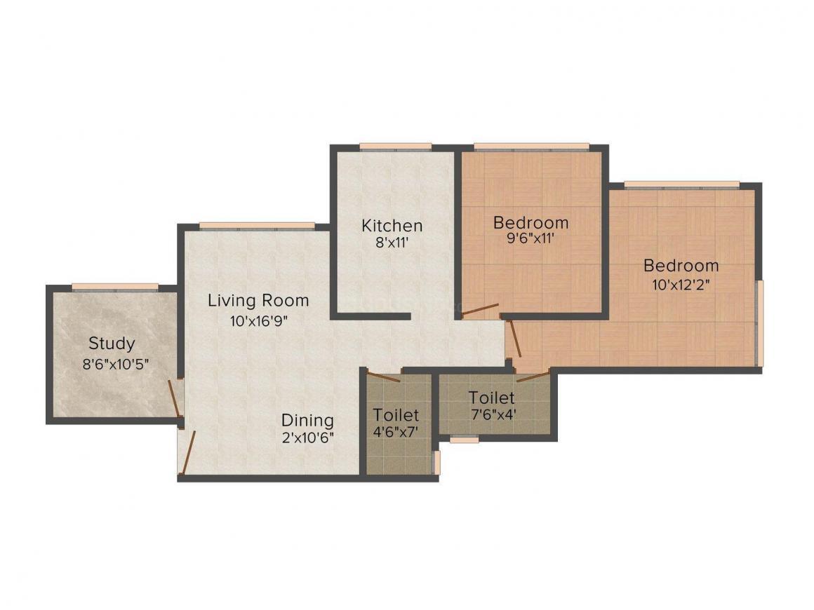 Floor Plan Image of 464.0 - 856.0 Sq.ft 1 BHK Apartment for buy in Amar Sahajeevan