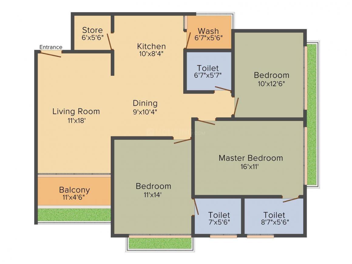Arista Life Spaces Belvista Floor Plan: 3 BHK Unit with Built up area of 2000 sq.ft 1