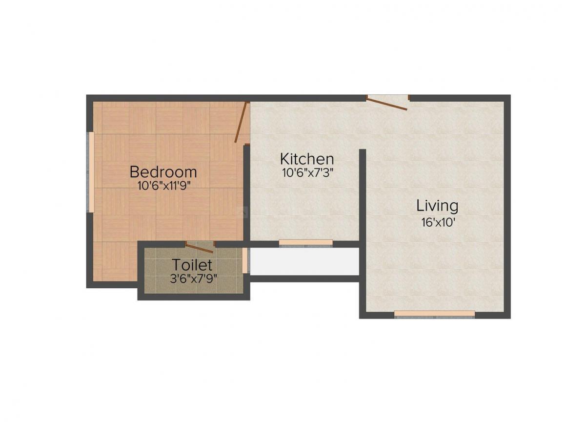 Floor Plan Image of 0 - 397.0 Sq.ft 1 BHK Apartment for buy in Campz Landmark