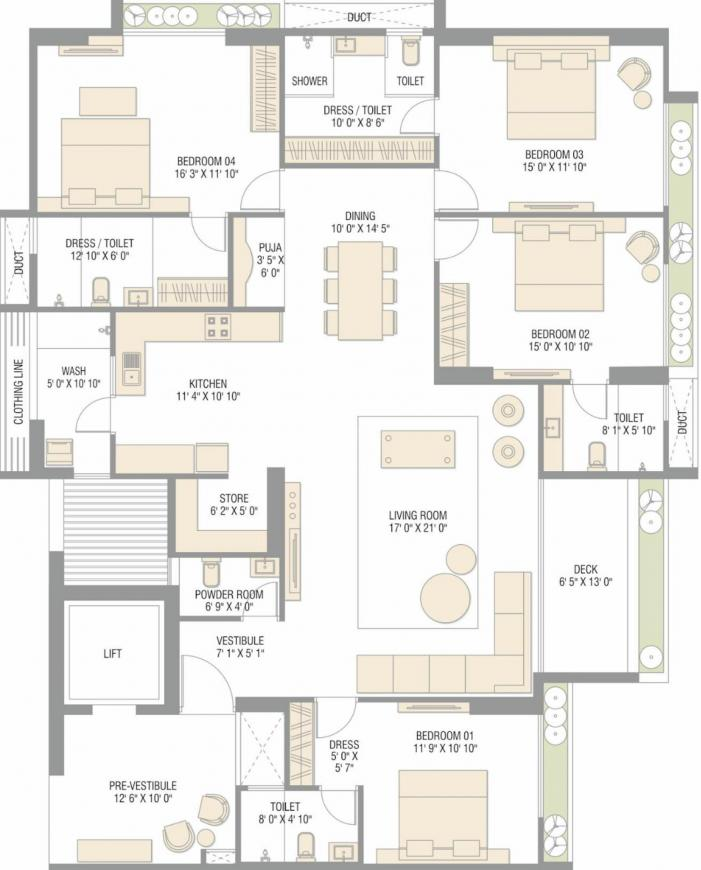 Sharanya Skyvue Floor Plan: 4 BHK Unit with Built up area of 1745 sq.ft 1
