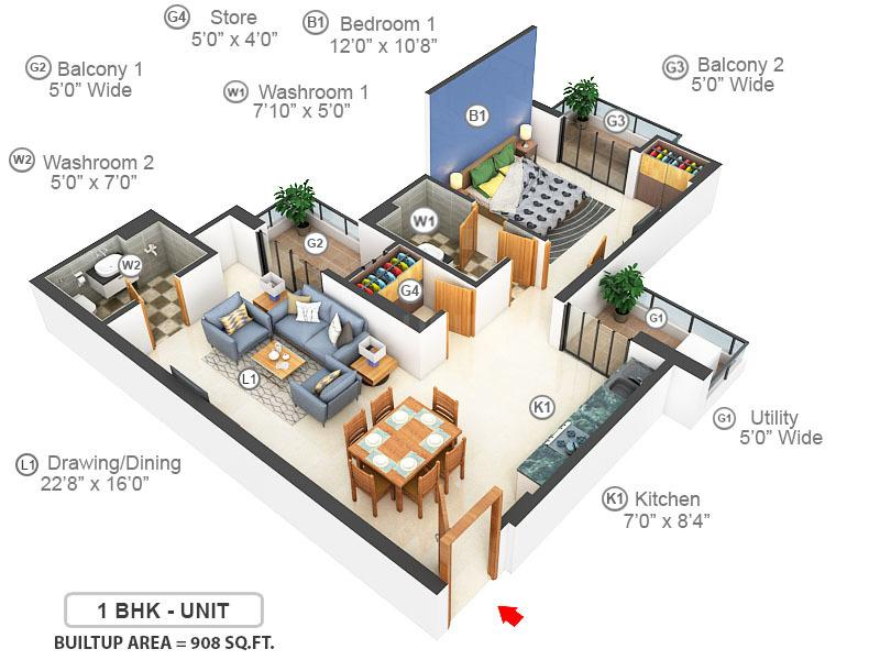 Ajnara Daffodil Floor Plan: 1 BHK Unit with Built up area of 908 sq.ft 1