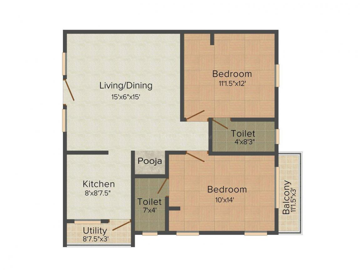 SPS Vaikunth Akshith Apartments Floor Plan: 2 BHK Unit with Built up area of 867 sq.ft 1