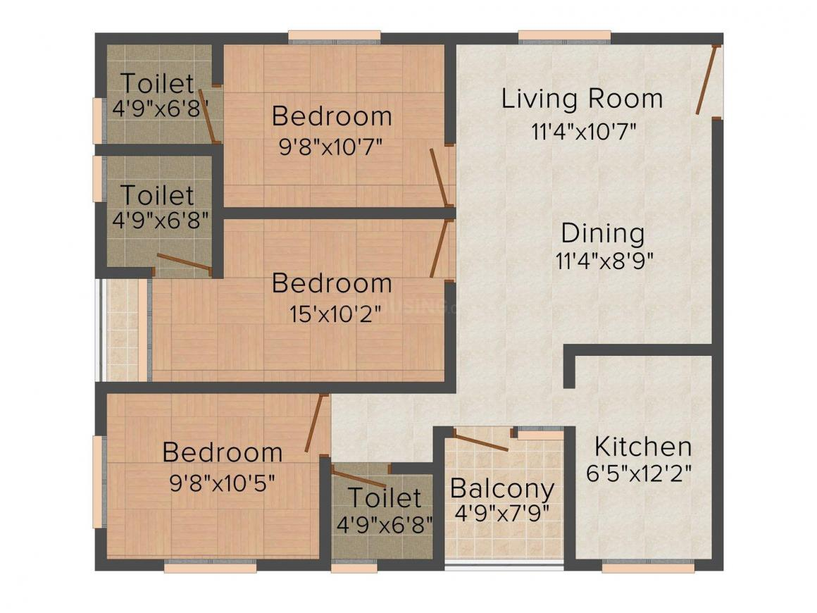 Floor Plan Image of 0 - 1254.0 Sq.ft 3 BHK Apartment for buy in Hamnet Pixel Appartments