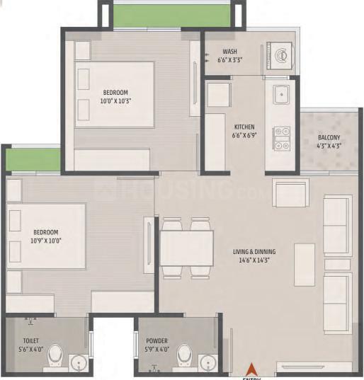 Sankalp Eternity Floor Plan: 2 BHK Unit with Built up area of 511 sq.ft 1