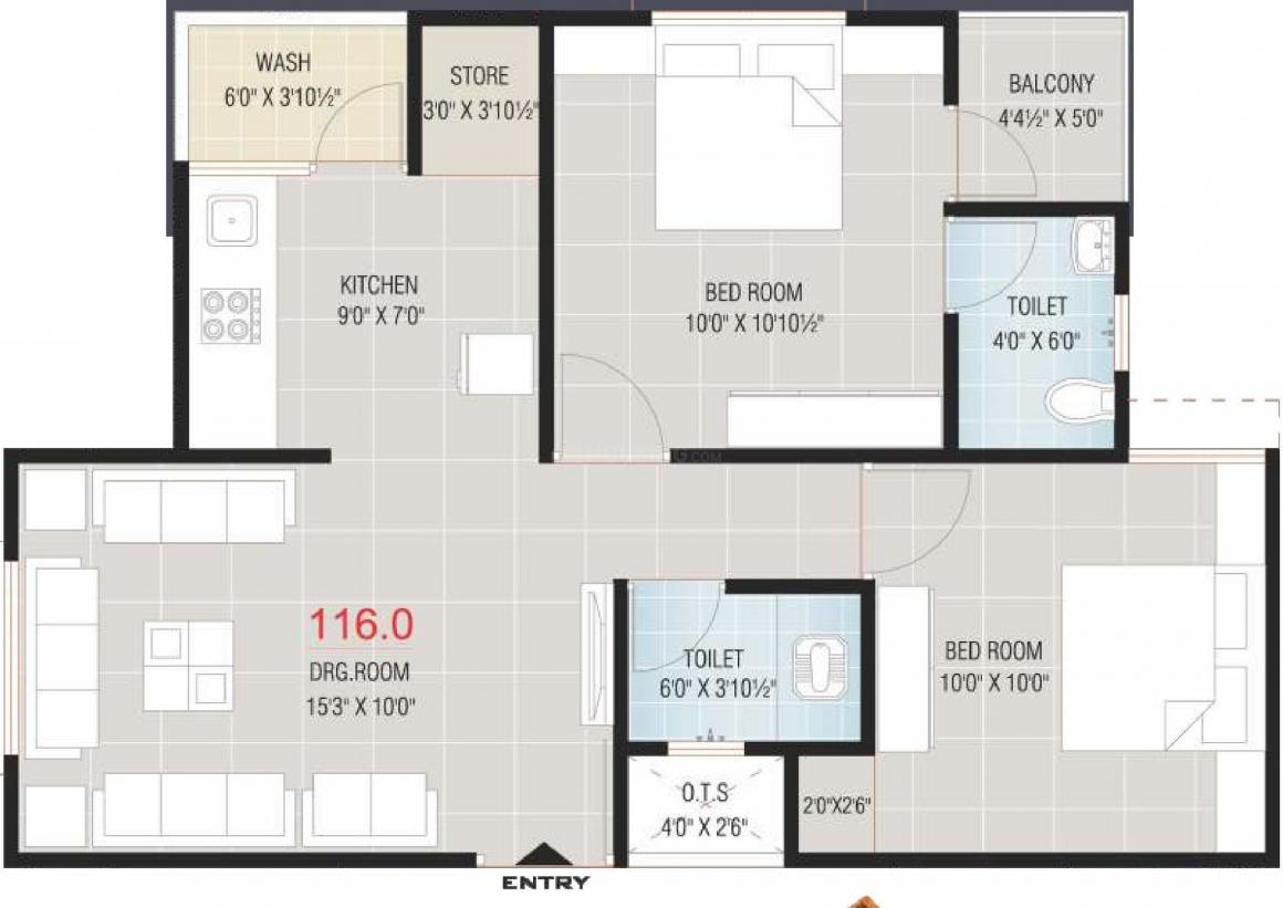 Dhan Manthan 25 Apartment Floor Plan: 2 BHK Unit with Built up area of 1249 sq.ft 1