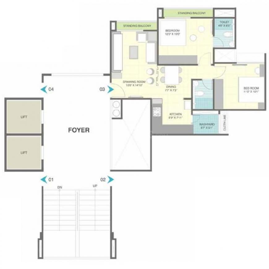 HN Marigold Floor Plan: 2 BHK Unit with Built up area of 1076 sq.ft 2