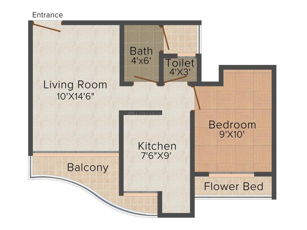 Floor Plan Image of 680.0 - 1155.0 Sq.ft 1 BHK Apartment for buy in Roshini Srushti Siddhi - Phase II