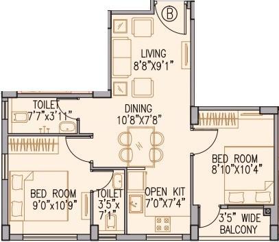 Aangan Floor Plan: 2 BHK Unit with Built up area of 473 sq.ft 1