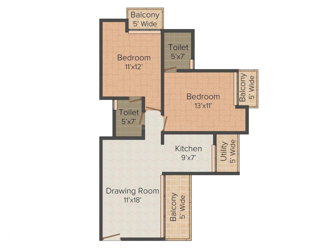 Griha GrihaPravesh Floor Plan: 2 BHK Unit with Built up area of 1175 sq.ft 1