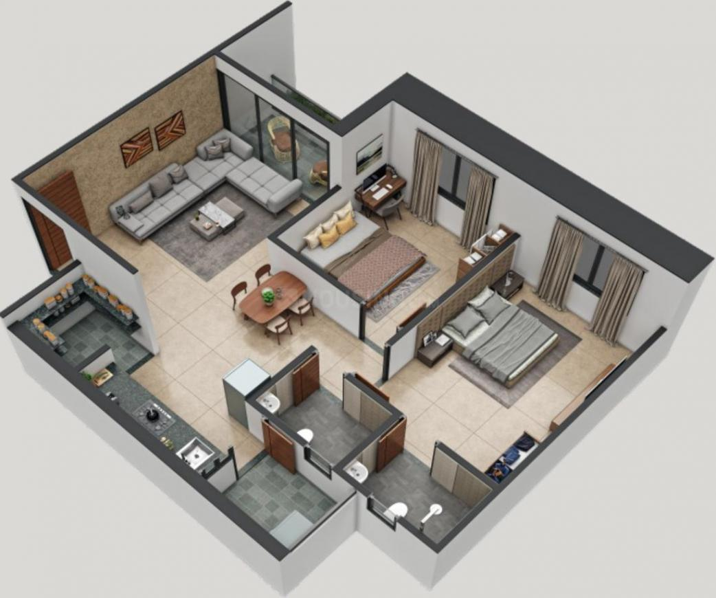 Hiramani 61 Floor Plan: 2 BHK Unit with Built up area of 634 sq.ft 1