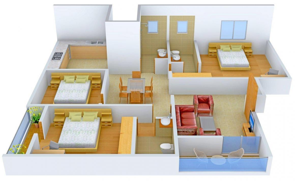 Surath Sunrise Dwelling Floor Plan: 3 BHK Unit with Built up area of 1675 sq.ft 1