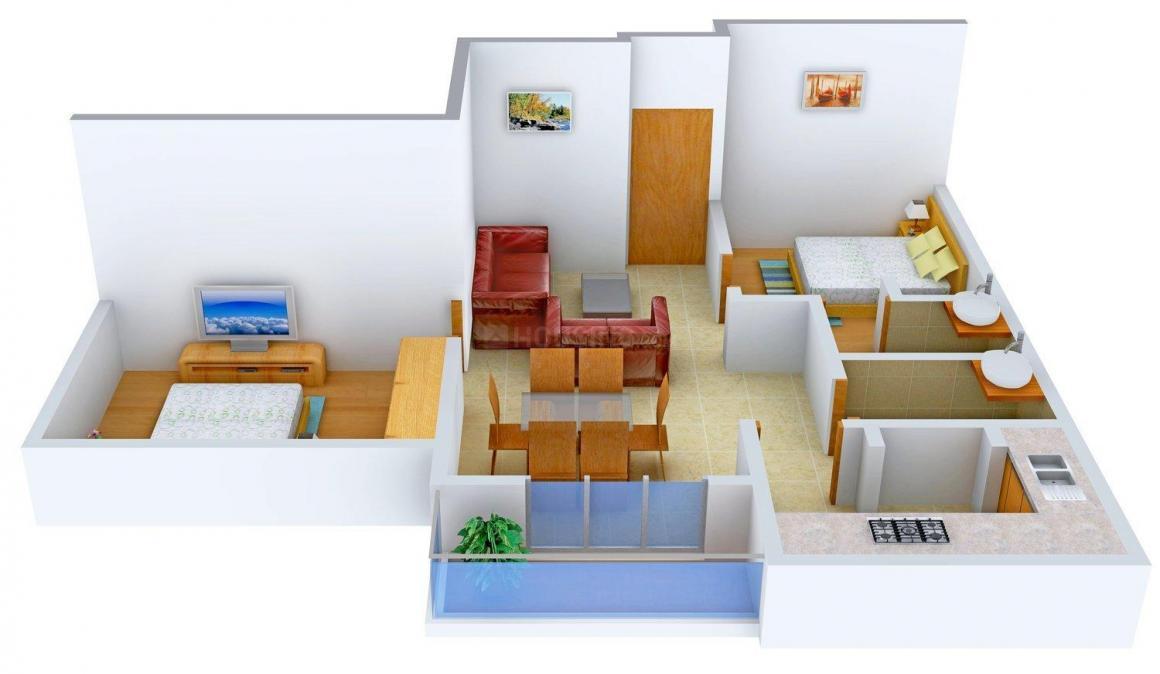 Floor Plan Image of 0 - 795.0 Sq.ft 2 BHK Apartment for buy in Aravind Vinayaga