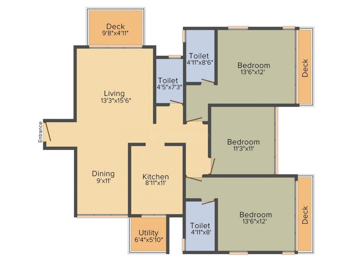 Spark Desai Harmony Floor Plan: 3 BHK Unit with Built up area of 1313 sq.ft 1