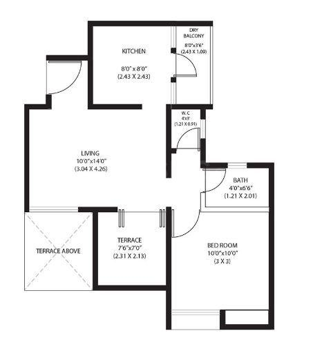 ARV Newtown Floor Plan: 1 BHK Unit with Built up area of 487 sq.ft 1
