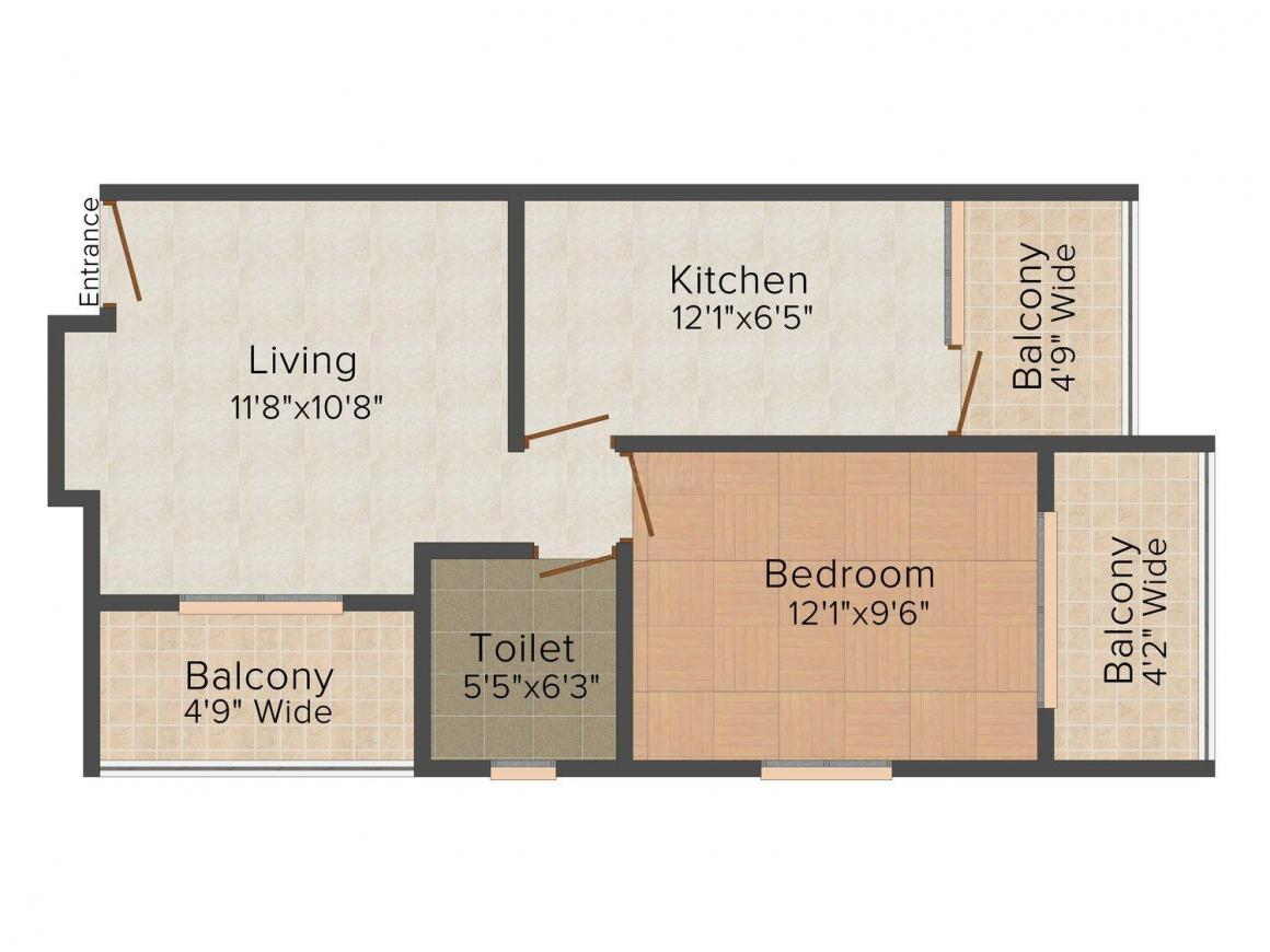 Floor Plan Image of 627 - 706 Sq.ft 1 BHK Apartment for buy in Sua United Shelter