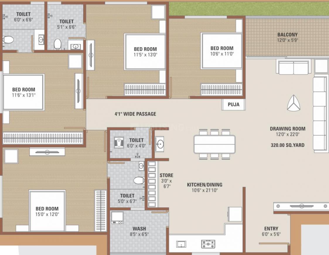 Manisha Merriott Hills Floor Plan: 4 BHK Unit with Built up area of 1398 sq.ft 1