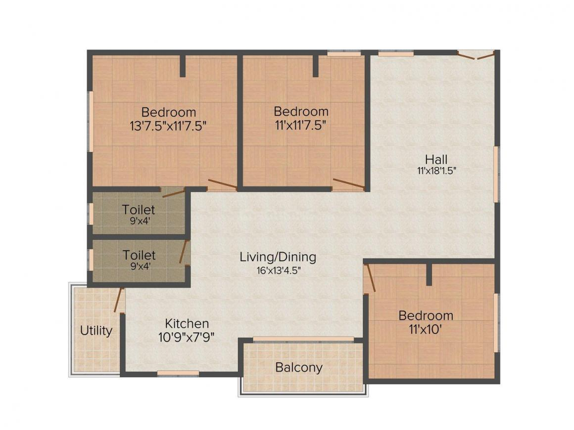 Floor Plan Image of 1415 - 1710 Sq.ft 3 BHK Apartment for buy in Mahathi East End