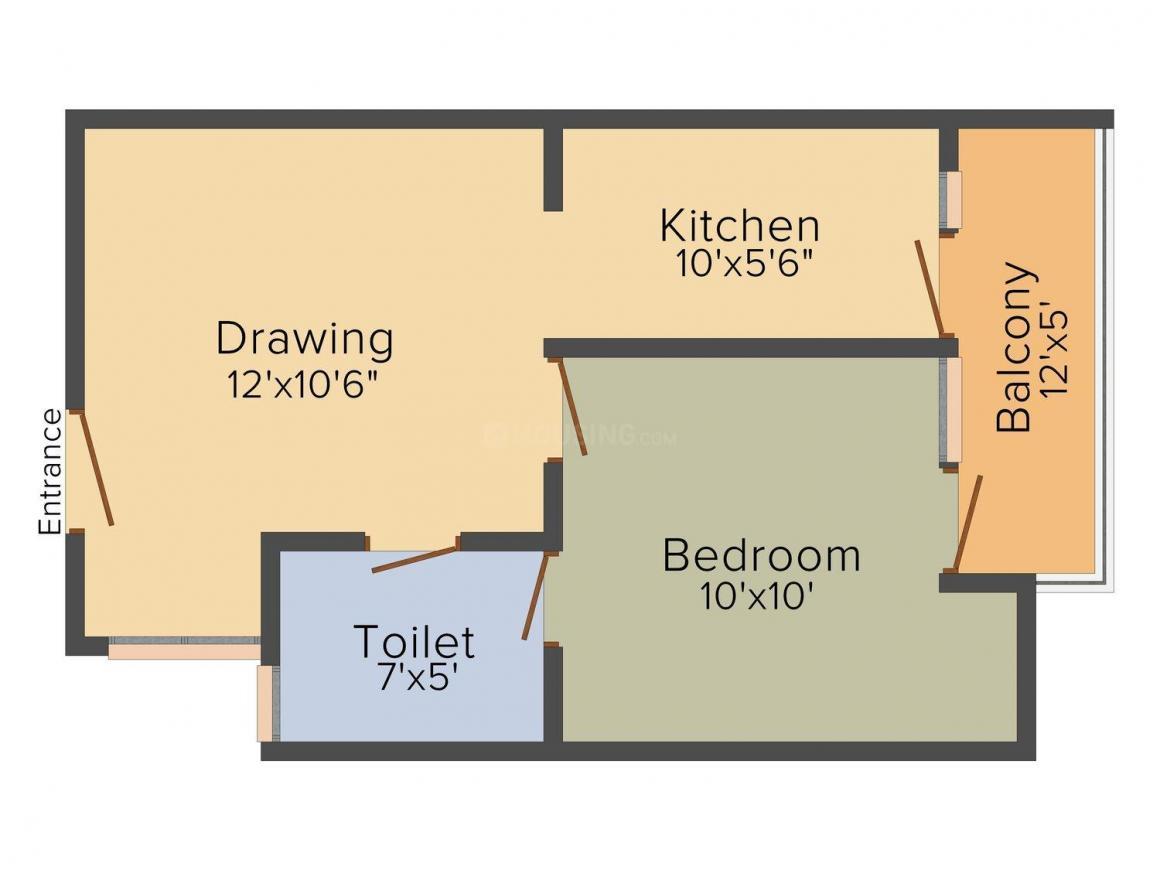 Shri Eklavya Amantran Floor Plan: 1 BHK Unit with Built up area of 565 sq.ft 1