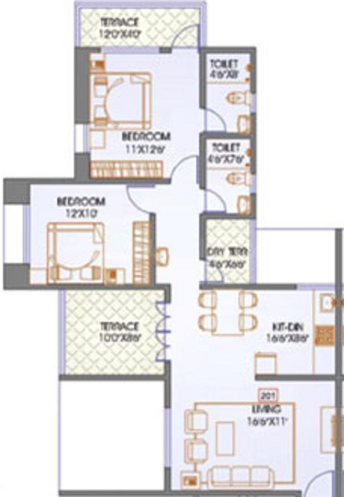 Mittal Sun Satellite Floor Plan: 2 BHK Unit with Built up area of 1190 sq.ft 1