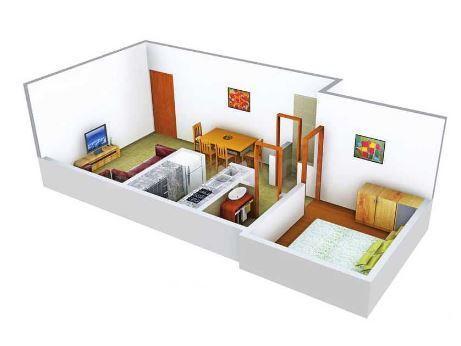 Mauli Omkar 2 Floor Plan: 1 BHK Unit with Built up area of 290 sq.ft 1