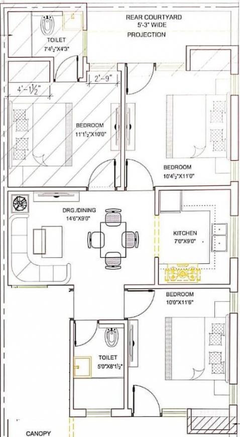 Hare Krishna Developer Krishna Home 4 Floor Plan: 3 BHK Unit with Built up area of 1080 sq.ft 1