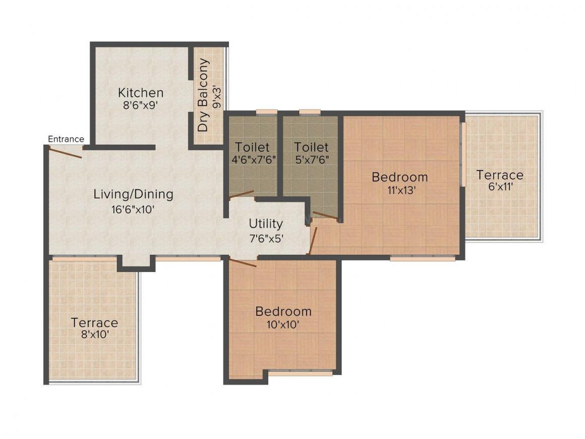 Om Praangan Floor Plan: 2 BHK Unit with Built up area of 1055 sq.ft 1
