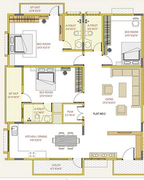 Sumo Properties Saga Elite Floor Plan: 3 BHK Unit with Built up area of 4000 sq.ft 1
