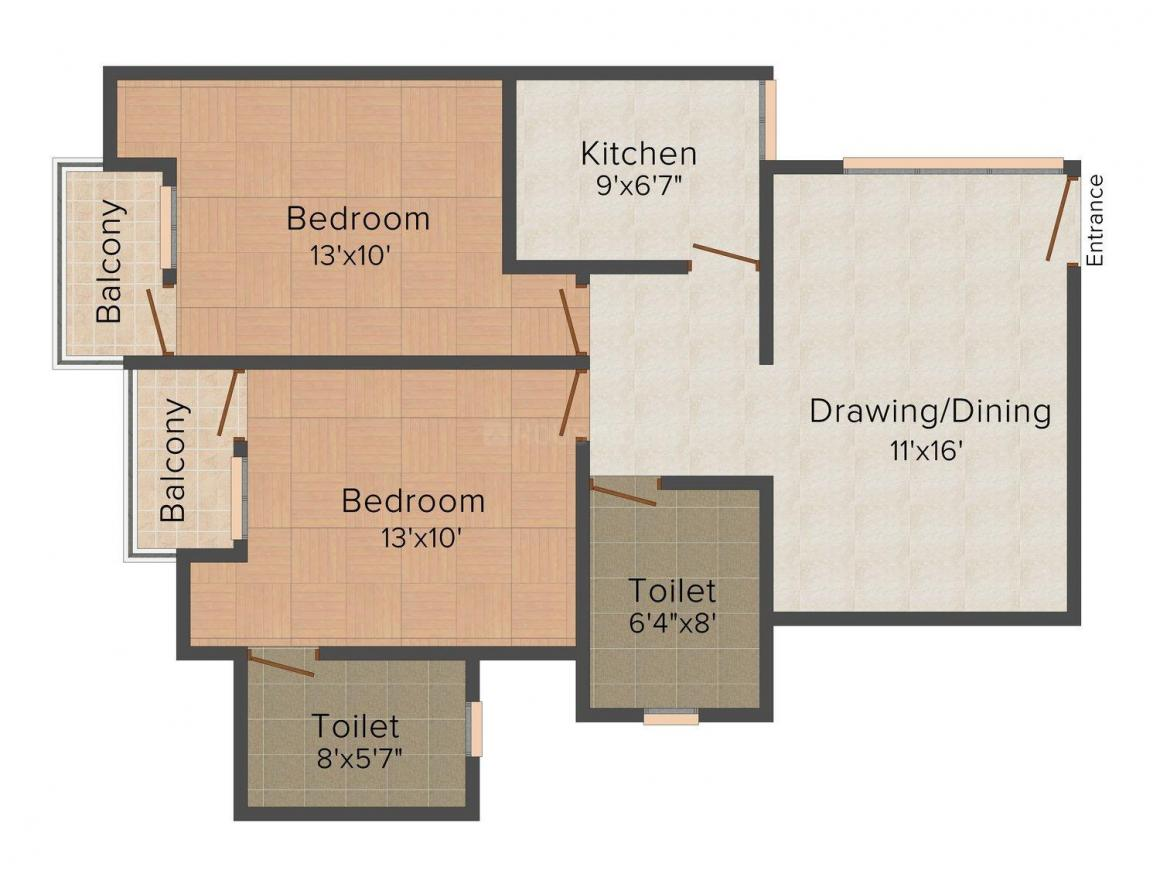 Floor Plan Image of 0 - 947 Sq.ft 2 BHK Apartment for buy in Anand Gooba Garden