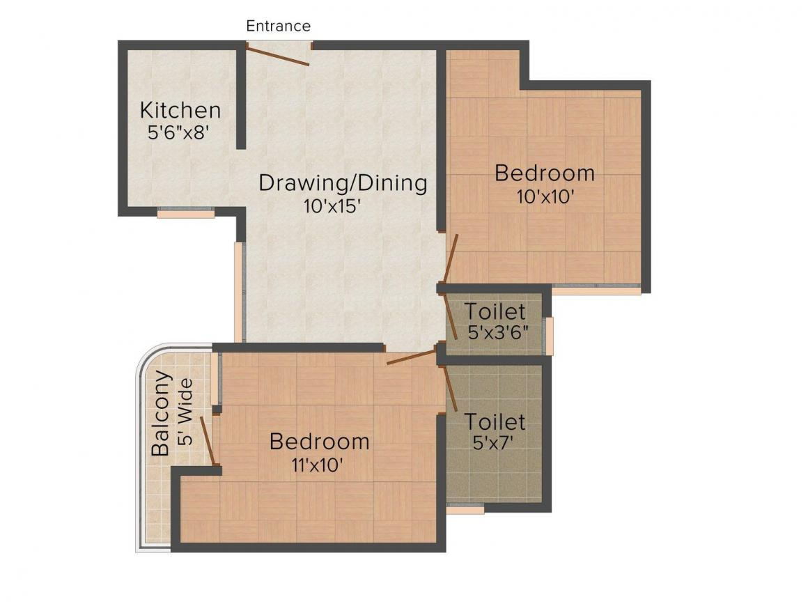 India Home Floor Plan: 2 BHK Unit with Built up area of 795 sq.ft 1