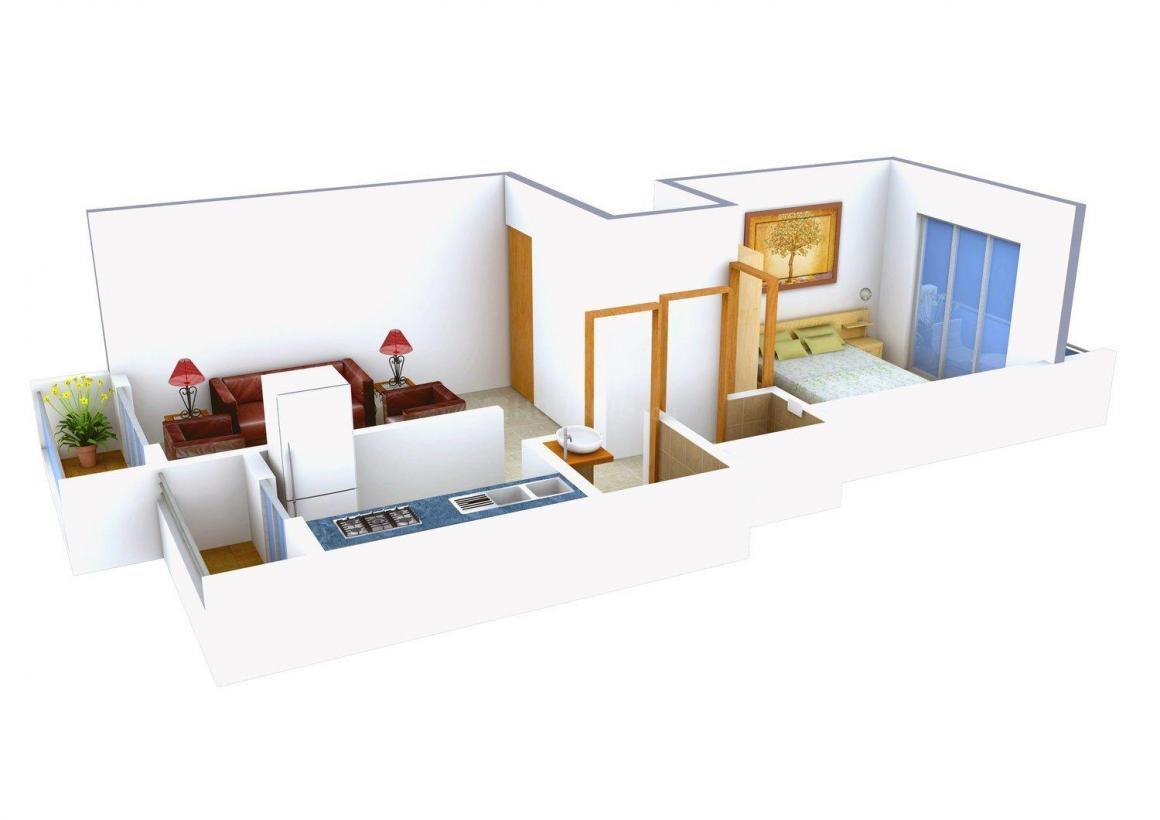 Floor Plan Image of 0 - 456.0 Sq.ft 1 BHK Apartment for buy in Krishna Kunj