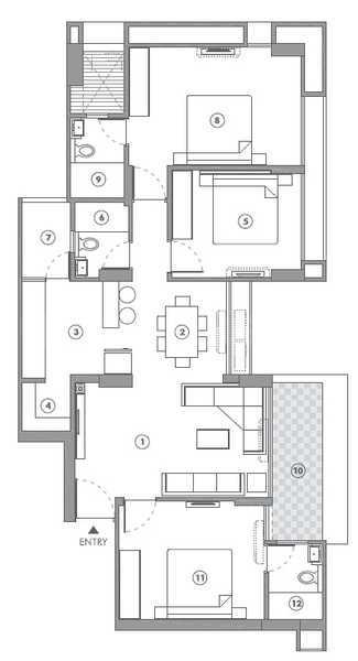 Sun Sky Park Floor Plan: 3 BHK Unit with Built up area of 1850 sq.ft 1