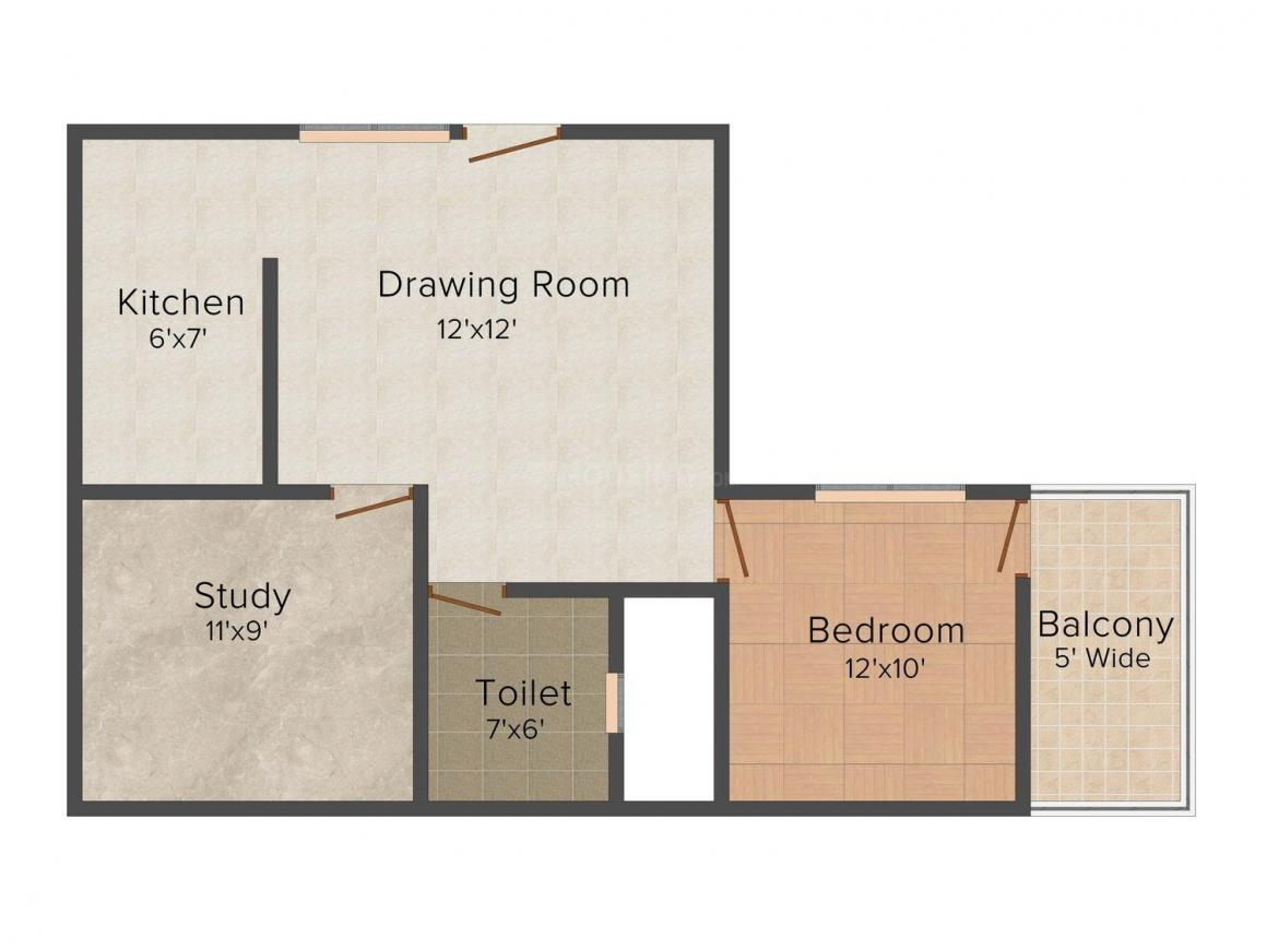 Mayur Imperia Floor Plan: 1 BHK Unit with Built up area of 765 sq.ft 1
